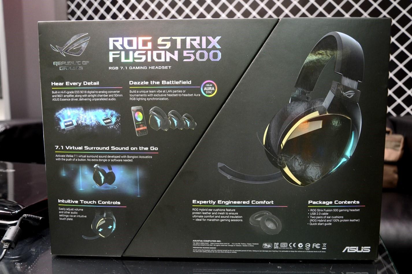 Игровая гарнитура ROG Strix Fusion 500 коробка зад